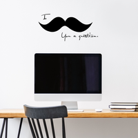 "I Mustache You a Question - 22"" x 10"" - Cute and Funny Vinyl Wall Decal Sticker Art"
