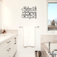 "Relax Soothing Words Collage for the Bathroom - 22"" x 19""- Decor Vinyl Wall Decal Sticker Art"