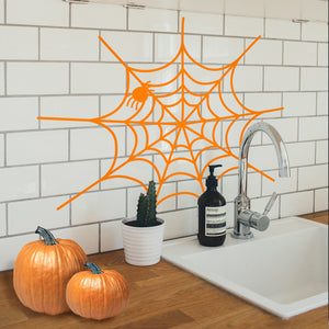 "Vinyl Wall Art Decal - Spiderweb - 20"" x 22.5"" - Fun Halloween Web Seasonal Decoration Sticker - Teens Adults Indoor Outdoor Wall Door Window Living Room Office Decor 660078119686"
