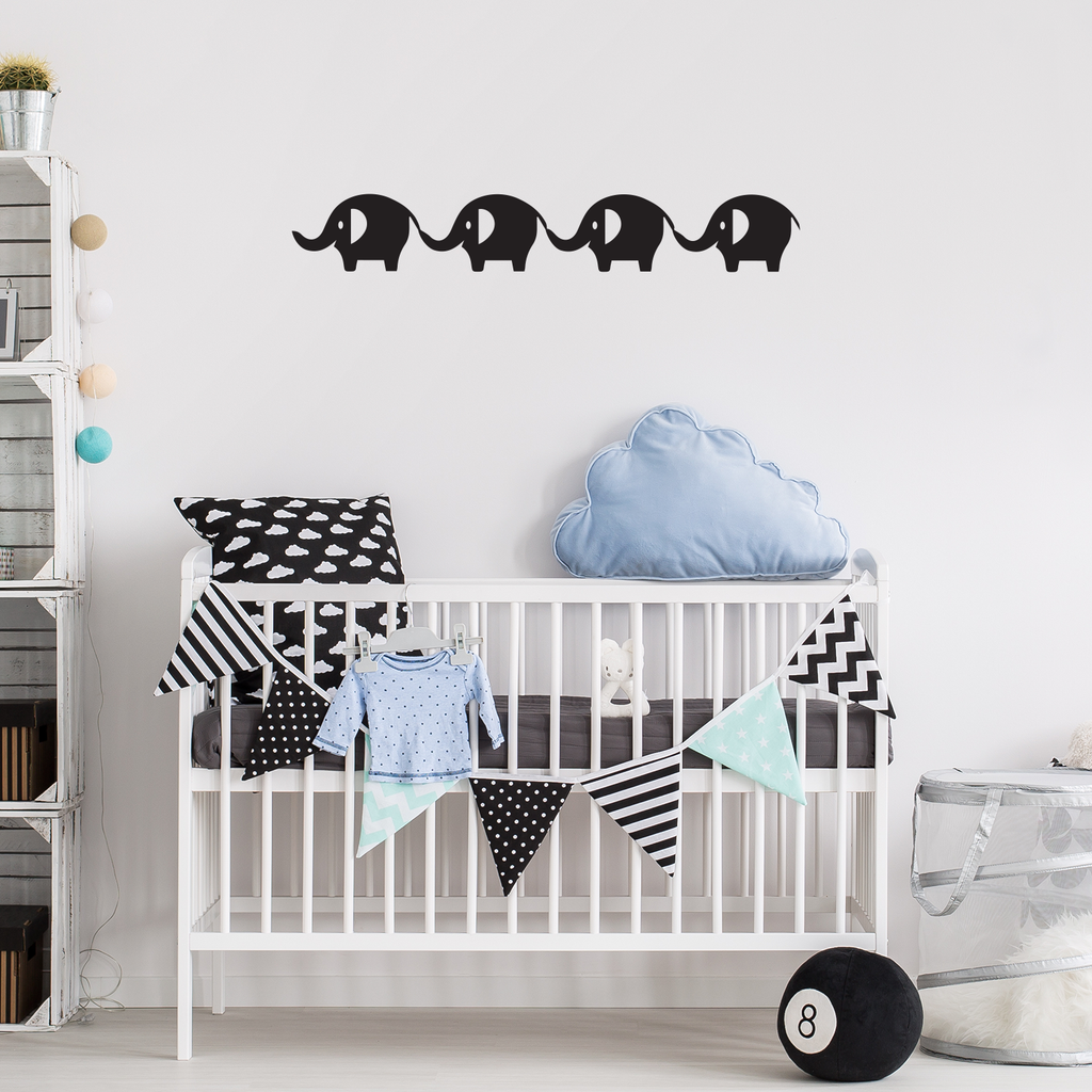 "Printique Baby Elephants Vinyl Wall Art Stickers - 5"" x 31"" - Boy's Room Wall Decor - Cute Vinyl Sticker Decals - Nursery Room Elephant Decorations - Baby Shower Decor Girls 660078088975"