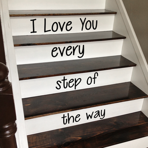 "Vinyl Wall Art Decal - I Love You Every Step of The Way - from 4.1"" to 18"" Each - Love Quotes for Indoor Outdoor Stairs Stickers Decor for Family Home Stairway Decals 660078111697"