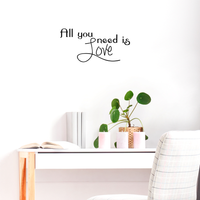 "All you need is Love - 23"" x 11"" - the beatles inspired cute decal"