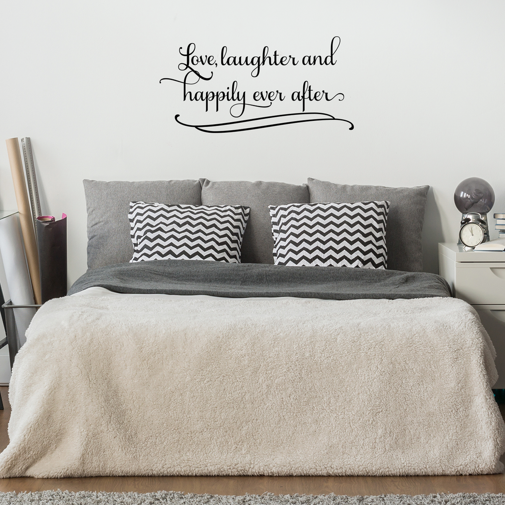 "Love Laughter and Happily Ever After.. - 42"" x 21"" - Couples Romantic Bedroom Vinyl Wall Decal Sticker Art"