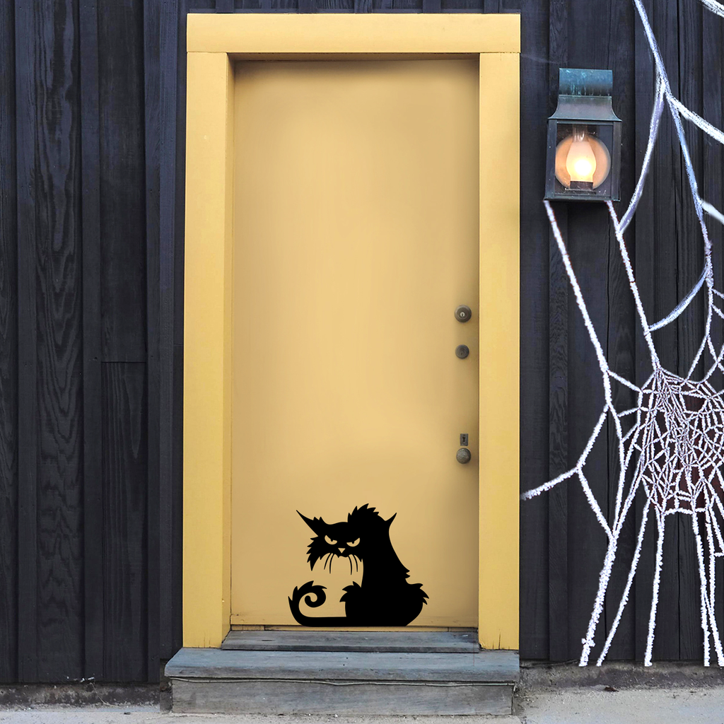 "Vinyl Wall Art Decal - Angry Black Cat - 15"" x 17"" - Spooky Halloween Season Decoration Sticker - Trendy Kids Teens Adults Indoor Outdoor Wall Door Window Living Room Office Decor 660078120071"
