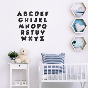 "Set of Abc's Alphabet Letters - Educational Vinyl Wall Art Stickers - 3"" x 3"" Each Letter - Unisex Childrens Bedroom Decals - Preschool and Kindergarten Kids Educational Classroom Wall Art Decals"
