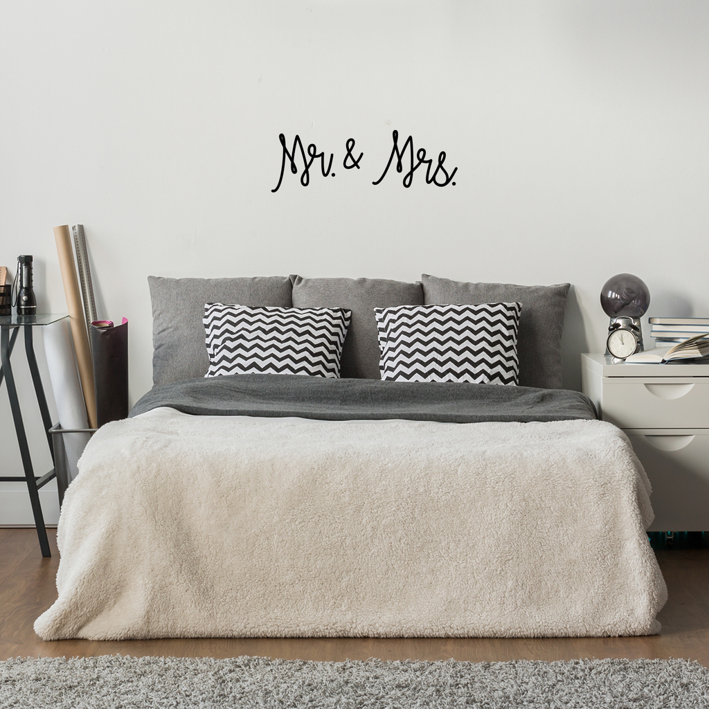 "Vinyl Wall Art Decal - Mr and Mrs - 10"" x 30"" - Couples Wedding Reception Happy Home Adhesive Peel Off Sticker - Marriage Wedlock of Love Living Room Bedroom Decor Stickers 660078116708"