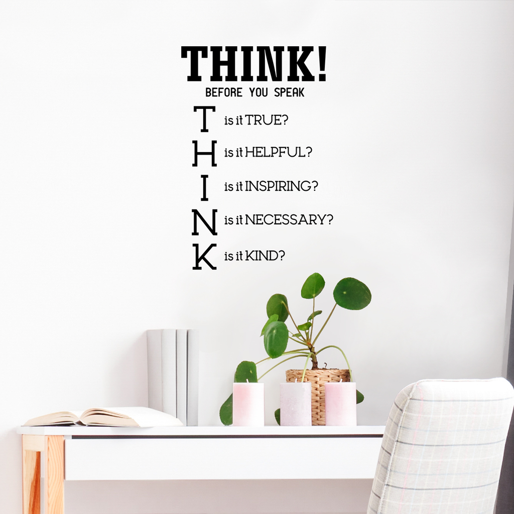 "Think! Before You Speak - Inspirational Quotes Wall Art Vinyl Decal - 23"" x 34"" Decoration Vinyl Sticker - Motivational Wall Art Decal - Bedroom Living Room Decor - Trendy Wall Art"