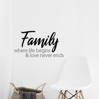 "Vinyl Wall Art Decal - Family Where Life Begins & Love Never Ends - 22"" x 12"" - Inspirational Household Decoration Living Room Bedroom Indoor Outdoor Sticker Wall Decals for Home Decor"