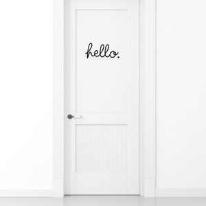 "Hello.- 11"" x 5"" -  Cute Decorative Front Door Vinyl Decal Sticker Art"
