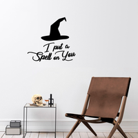 "Vinyl Wall Art Decal - I Put A Spell On You - 20"" x 22"" - Witch Hat Seasonal Greeting Letters Decoration Sticker - Teens Adults Indoor Outdoor Wall Door Window Living Room Office Decor 660078119808"