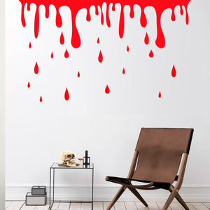 "Vinyl Wall Art Decal - Blood Dripping - 46"" x 79"" - Fun Spooky Halloween Slime Decoration Sticker - Kids Teens Adults Indoor Outdoor Wall Door Window Living Room Office Decor (46"" x 79"", Red) 660078116265"