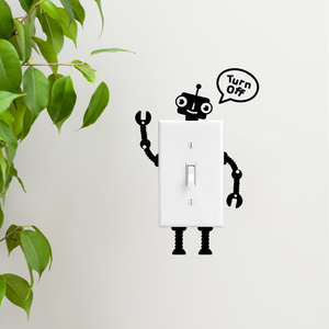 "Vinyl Wall Art Decal - Turn Off Robot - 1.5"" to 3"" Each - Fun Decor for Light Switch Kids Boy Girl Bedroom Decor for Light Switch - Laptop Computer Peel and Stick Sticker Designs"