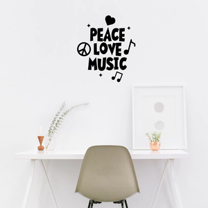 "Vinyl Wall Art Decal - Peace Love Music - 26"" x 23"" - Modern Urban Music Lover Quote for Home Living Room Bedroom Sticker - Trendy Good Vibes for Office Business Workplace Decor 660078119365"