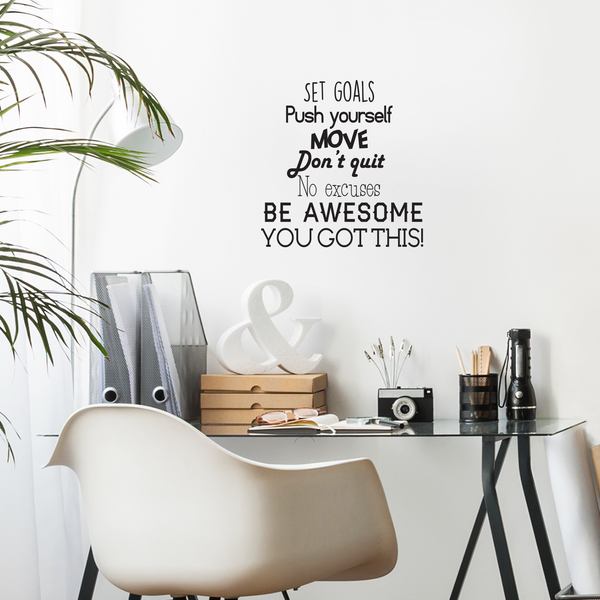 Set goals push yourself don t quit inspirational quotes wall