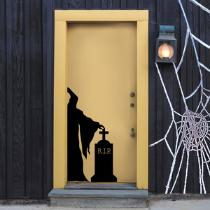 "Vinyl Wall Art Decal - Grim Reaper and Grave - 43"" x 22.5"" - Fun Scary Halloween Seasonal Decoration Sticker - Day of The Dead Indoor Outdoor Wall Door Window Living Room Office Decor 660078120095"