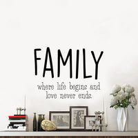 "Vinyl Wall Art Decal - Family Where Life Begins & Love Never Ends - 17"" x 23"" - Inspirational Household Decoration Living Room Bedroom Indoor Outdoor Sticker Wall Decals for Home Decor"