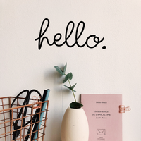 "Hello - 7"" x 3.1"" - Decoration Vinyl Sticker - Hello Quote Lettering - Removable Waterproof Sticker"