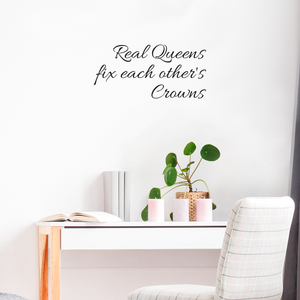 "Real Queens Fix Each Others Crowns - 22"" x 11"" - Women's Inspirational Quotes Wall Art Vinyl Decal - 11"" x 22"" Decoration Vinyl Stickers - Motivational Wall Decal - Bedroom Living Room Decor 660078091012"