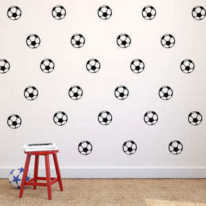 "Pack of 25 Soccer Balls - Vinyl Wall Art Decals - 1.5"" x 1.5"" Each one - Kids Bedroom Sports Vinyl Wall Decal Stickers - Childrens Room Wall Decor for Boys and Girls"