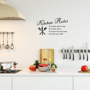 "Kitchen Rules Word - 22"" x 12"" - Vinyl Wall Decal Art Decoration Sticker"