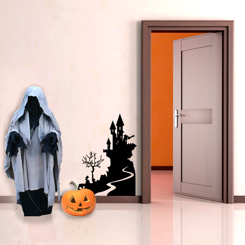 "Vinyl Wall Art Decal - Halloween Castle - 30"" x 22.5"" - Spooky Seasonal Modern Decoration Sticker - Trendy Kids Teens Adults Indoor Outdoor Wall Door Window Living Room Office Decor 660078119983"