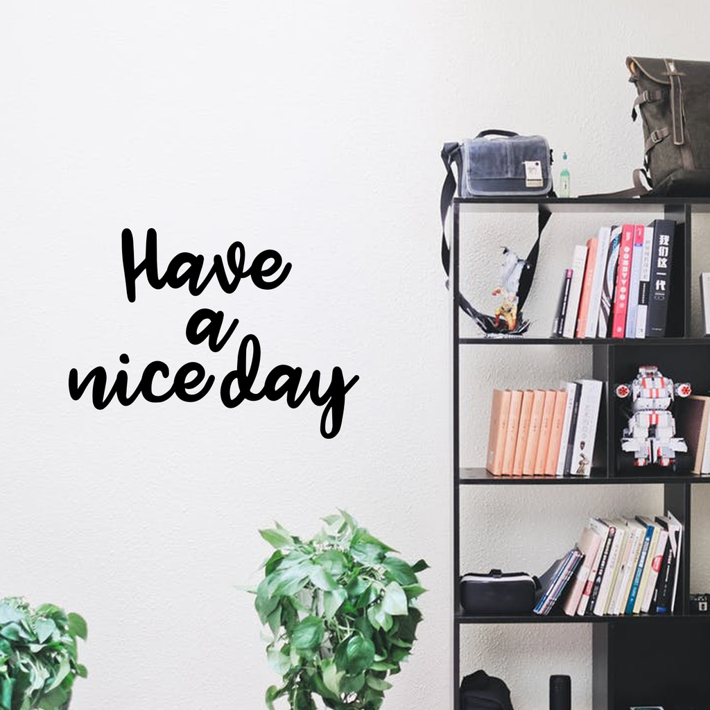 "Vinyl Wall Art Decals - Have A Nice Day - 17"" x 23"" - Trendy Home Living Room Bedroom Workplace Decor Stickers - Modern Positive Quotes Apartment Work Office Adhesive Decals 660078119785"