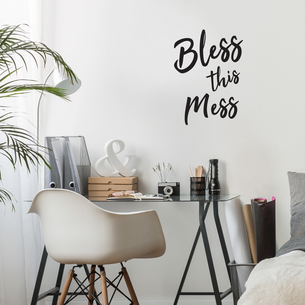 "Bless This Mess - Funny Quotes - Wall Art Decal 20"" x 28"" Home Decoration Vinyl Stickers - Bedroom Living Room Wall Decor"