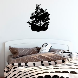 "Pirate Ship - 17.5"" x 20"" - Vinyl Wall Decal Sticker Art"