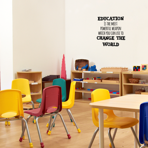 "Education is The Most Powerful Weapon Which You Can Use to Change The World - 23"" x 23"" - Motivational Quote - Living Room Bedroom Home School Wall Decor Removable Sticker 660078115312"