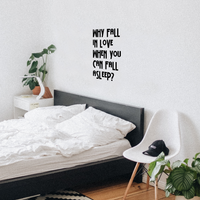 "Why Fall in Love When You Can Fall Asleep - Funny Quotes Wall Art Vinyl Decal - 21"" X 22"" Decoration Vinyl Sticker - Sarcastic Wall Art Decal - Love Quote Bedroom Decor - Trendy Wall Art 660078091029"