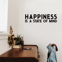 "Vinyl Wall Art Decal - Happiness is A State of Mind - 10"" x 40"" - Motivational Quote Living Room Bedroom Home Office Business School Wall Decor Door Mural - Trendy Modern Wall"