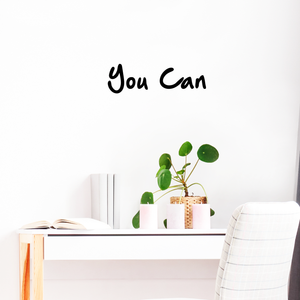 "Yes You Can - 20"" x 6"" - Inspirational Office Home Bedroom Workplace Gym Fitness Living Room Apartment Dorm Room Decor - Motivational Life Quote Sticker"