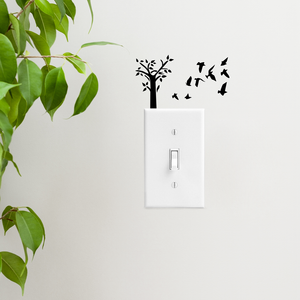 "Vinyl Wall Art Decal - Tree and Birds - 5"" x 2.5"" - Cute Animal Decor for Light Switch"