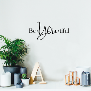 "Vinyl Wall Art Decal - Be-You-Tiful - 6"" x 15"" - Trendy Women's Inspirational Decoration Quote - Motivational Home Apartment Door Window Living Room Bedroom Mirror Fashion Sticker"