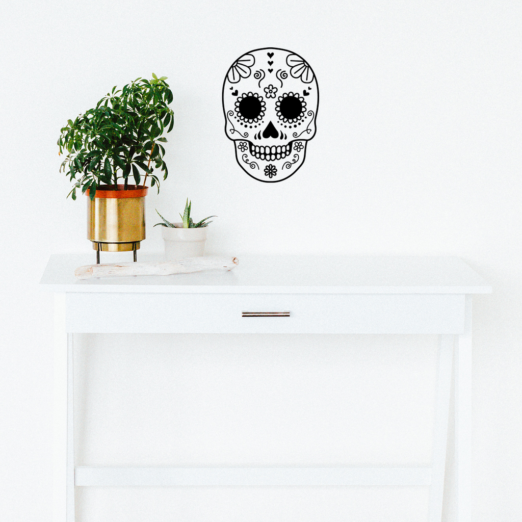"Vinyl Wall Art Decal - Day Of The Dead Skull - 21"" x 15"" - Sugar Skull Mexican Holiday Seasonal Sticker - Kids Teens Adults Indoor Outdoor Wall Door Window Living Room Office Decor (21"" x 15"", Black) 660078122433"