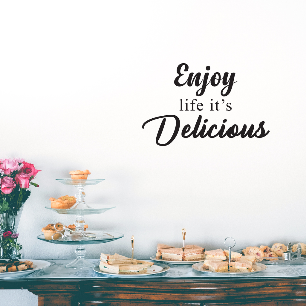 "Enjoy Life It's Delicious - Inspirational Quotes Wall Art Vinyl Decal - 15"" X 23"" Decoration Vinyl Sticker - Motivational Wall Art Decal - Inspirational Kitchen Decor - Trendy Wall Art 660078090022"