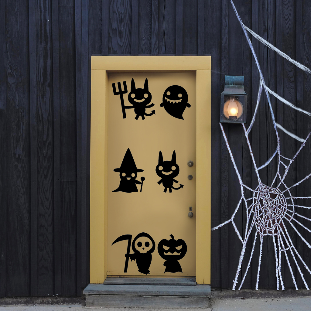 "Set of 6 Vinyl Wall Art Decal - Halloween Characters - from 8.4"" to 8.5"" Each - Fun Halloween Seasonal Decoration Sticker - Indoor Outdoor Wall Door Window Living Room Office Decor 660078119723"