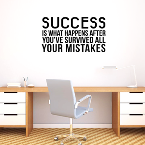 "Vinyl Wall Art Decal - Success is What Happens After You've Survived All Your Mistakes - 23"" x 40"" - Positive Workplace Bedroom Apartment Decor - Motivational Home Living Room Office Decals 660078119525"