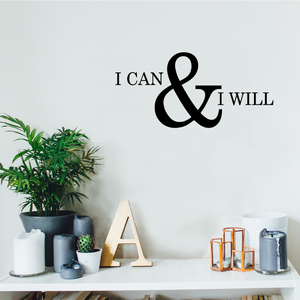 "Motivational and Inspirational do it Yourself Art DecaI can and I Will 10.5"" x 22"" Wall Decoration Vinyl Sticker-Black 658751770354"