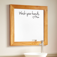 "Wash Your Hands Love Mom - Wall Art Decal - 8"" x 18"" - Bathroom Wall Art Decor - Peel Off Vinyl Stickers - Trendy Decals 660078089415"