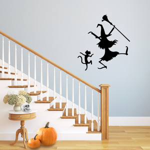 "Vinyl Wall Art Decal - Dancing Witch and Cat - 24.5"" x 23"" - Fun Halloween Theme Seasonal Decoration Sticker - Indoor Outdoor Wall Door Window Living Room Office Decor 660078119747"