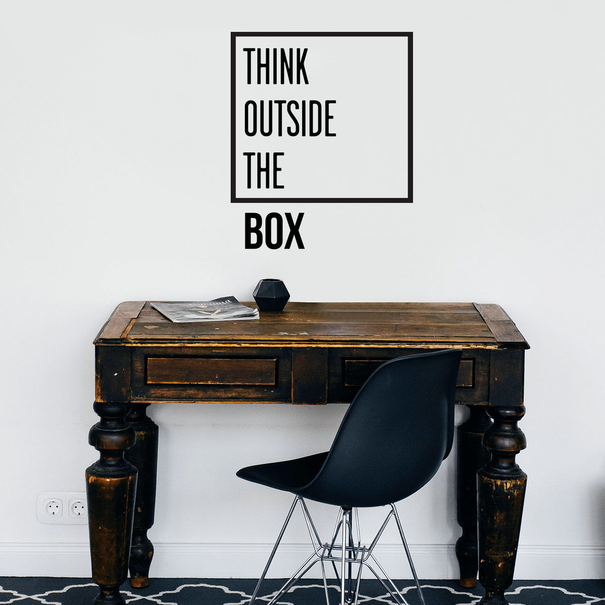 Vinyl Wall Decal Think Outside The Box Inspiration Phrase Work Stickers g2634