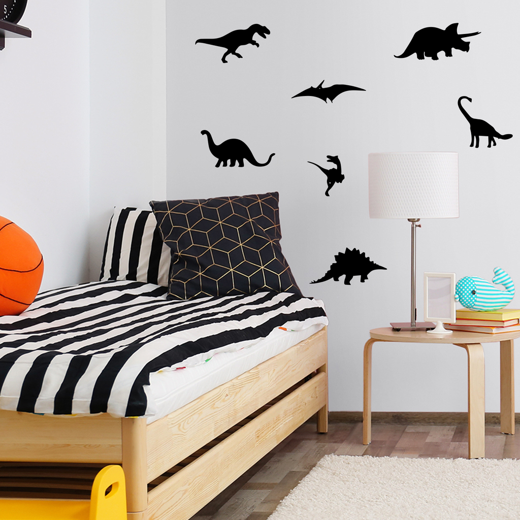 "7 Pack Dinosaurs Vinyl Wall Art Stickers - 5"" x 12"" - Boy's Room Wall Decor- Cute Vinyl Sticker Decals - Nursery Room Dino Decorations 660078088968"