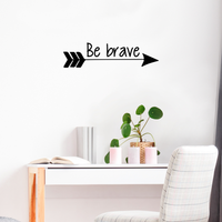 "Vinyl Wall Art Decal - Be Brave - 6"" x 23"" - Home Office Living Room Motivational Life Quote - Positive Trendy Kids Teens Unisex Nursery Bedroom Dorm Room Wall Decor 660078115725"