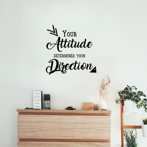 "Your Attitude Determines Your Direction - Inspirational Quote - Wall Art Decal - 23"" x 23"" - Motivational Life Quotes Vinyl Decal - Bedroom Wall Decoration - Living Room Wall Art Vinyl Decor"