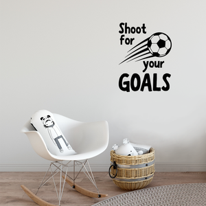 "Wall Art Vinyl Decal - Shoot for Your Goals - 30"" x 23"" - Unisex Kids Little Boys Bedroom Soccer Decoration Sticker - Children's Indoor Outdoor Play Room Closet Door Classroom Daycare Sign 660078116524"