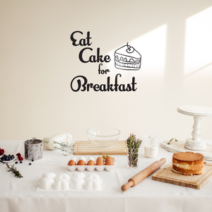 "Eat Cake For Breakfast - Funny Quotes Wall Art Vinyl Decal - 23"" X 27"" Decoration Vinyl Sticker - Motivational Wall Art Decal - Inspirational Kitchen Decor - Trendy Wall Art 660078090039"