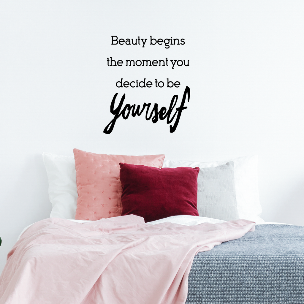 "Beauty Begins The Moment You Decide to Be Yourself - Inspirational Women's Quotes - Wall Art Decal - 23"" x 26"" - Motivational Life Quote Vinyl Sticker Decals - Bedroom Wall Decor"