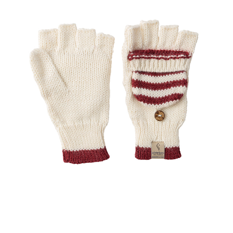 Alpaca Mittens - White with Red Accent
