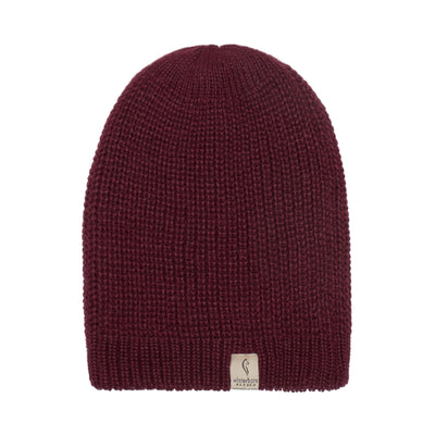Alpaca Beanie - Light Grey / Burgundy